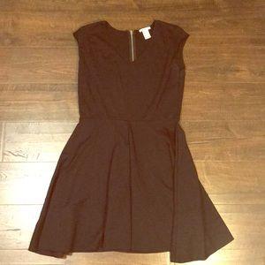 Black Cap Sleeve Skater Dress